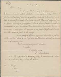 Copy of letter from William Lloyd Garrison, Boston, [Mass.], to Samuel May, Sept. 6, 1850