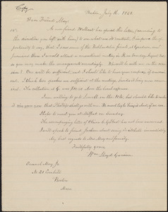 Copy of letter from William Lloyd Garrison, Boston, [Mass.], to Samuel May, July 16, 1851