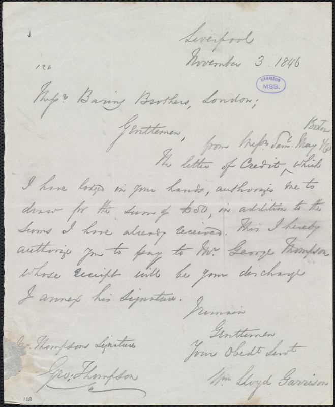 Copy of letter from William Lloyd Garrison, Liverpool, [England], to Baring Brothers & Co. Ltd, November 3, 1846