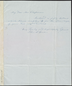 Letter from John C. Gore to Maria Weston Chapman