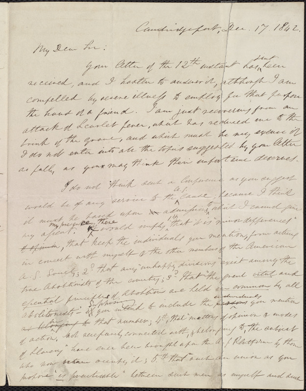 Copy of letter from William Lloyd Garrison, Cambridgeport, [Mass.], to John Treadwell Norton, Dec. 17, 1842