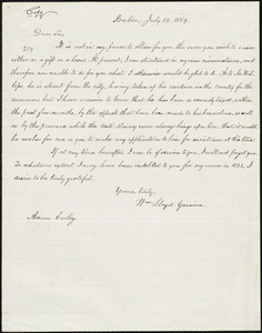 Copy of letter from William Lloyd Garrison, Boston, [Mass.], to Aaron Cooley, July 12, 1859