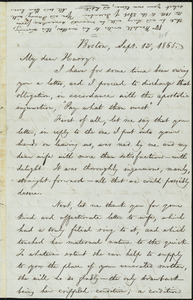 Letter from William Lloyd Garrison, Boston, [Mass.], to Henry Villard, Sept. 12, 1865
