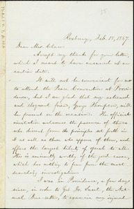 Letter from William Lloyd Garrison, Roxbury, [Mass.], to Mrs. Chace, Feb. 18, 1867