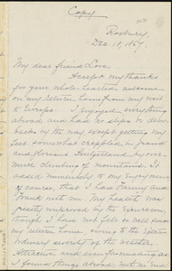 Copy of letter from William Lloyd Garrison, Roxbury, [Mass.], to Alfred Harry Love, Dec. 18, 1867