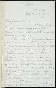Copy of letter from William Lloyd Garrison, Boston, [Mass.], to Alfred Harry Love, March 30, 1868