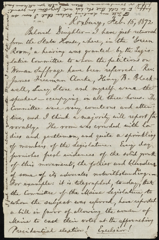 Letter from William Lloyd Garrison, Roxbury, [Mass.], to Fanny Garrison Villard, Feb. 16, 1872