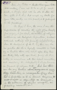 Rough draft of letter from William Lloyd Garrison, [Roxbury?, Mass.], to William James Potter, [Oct. 11, 1873]