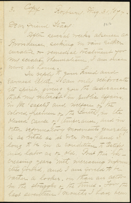 Copy of letter from William Lloyd Garrison, Roxbury, [Mass.], to George Whittemore Stacy, Aug. 31, 1874