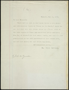 Letter from William Lloyd Garrison, Roxbury, [Mass.], to James Manning Winchell Yerrinton, May 21, 1875