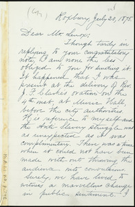 Letter from William Lloyd Garrison, Roxbury, [Mass.], to John M. Lenox, July 20, 1875