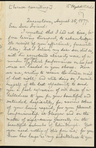 Letter from William Lloyd Garrison, Queenstown, [Ireland], to Elizabeth Pease Nichol, August 26, 1877