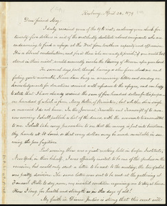 Letter from William Lloyd Garrison, Roxbury, [Mass.], to Samuel May, April 24, 1879