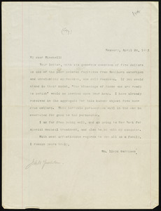 Letter from William Lloyd Garrison, Roxbury, [Mass.], to James Manning Winchell Yerrinton, April 24, 1879