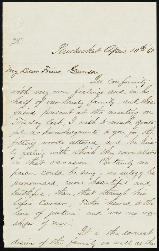 Letter from Charles P. Adams, Pawtucket, [R.I.], to William Lloyd Garrison, April 10th [18]68