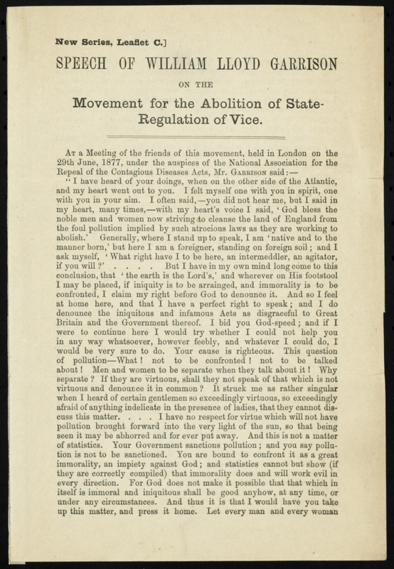 Speech on the Movement for the Abolition of State Regulation of Vice by William Lloyd Garrison, [London, England], [ca. 29 June 1877]