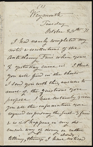 Letter from Caroline Weston, Weymouth, [Mass.], to Samuel May, Tuesday, October 24th, [18]71