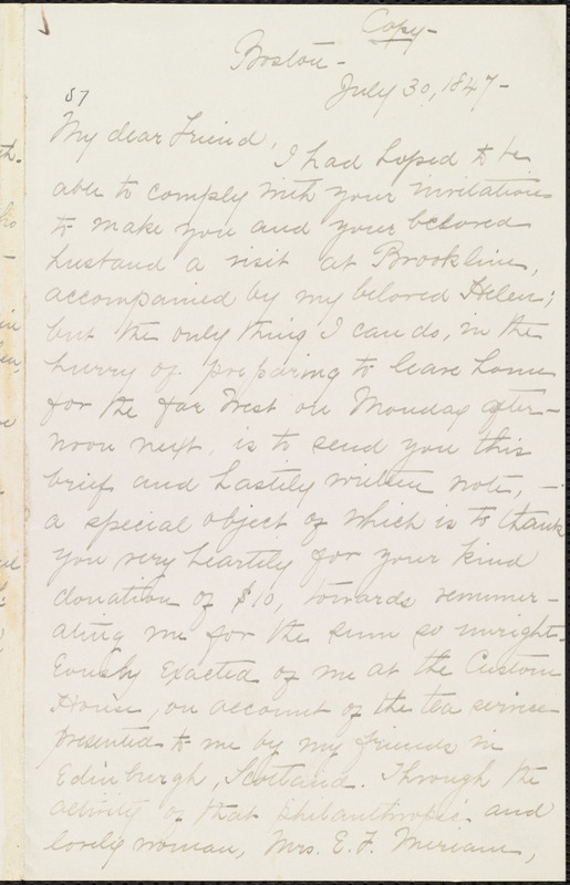 Copy of letter from William Lloyd Garrison, Boston, [Mass.], to Louisa Gilman Loring, July 30, 1847