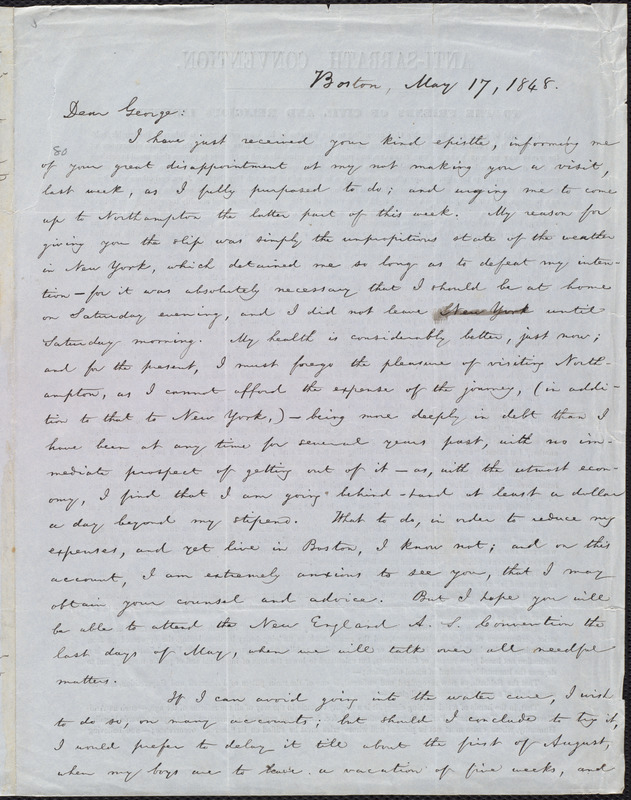 Letter from William Lloyd Garrison, Boston, [Mass.], to George William Benson, May 17, 1848