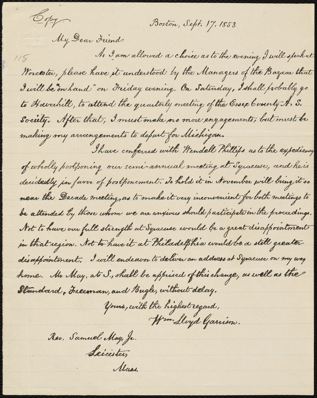 Copy of letter from William Lloyd Garrison, Boston, [Mass.], to Samuel May,  Sept. 17, 1853