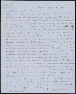 Letter from William Lloyd Garrison, Boston, [Mass.], to Samuel Joseph May, Sept. 17, 1853