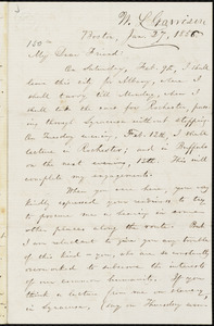 Letter from William Lloyd Garrison, Boston, [Mass.], to Samuel Joseph May, Jan. 27, 1856