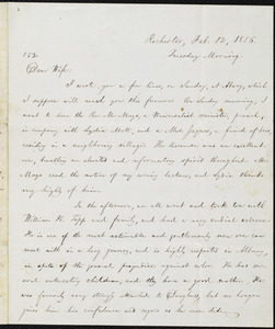 Letter from William Lloyd Garrison, Rochester, [NY], to Helen Eliza Garrison, Feb. 12, 1856, Tuesday Morning