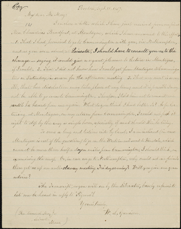 Copy of letter from William Lloyd Garrison, Boston, [Mass.], to Samuel May, Sept. 10, 1857