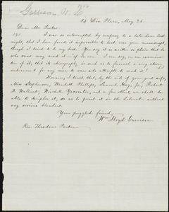 Letter from William Lloyd Garrison,14 Dix Place, [Boston, Mass.], to Theodore Parker, May 26, [1856]