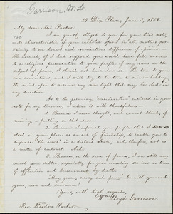 Letter from William Lloyd Garrison,14 Dix Place, [Boston, Mass.], to Theodore Parker, June 3, 1858