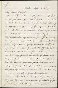 Draft of letter from William Lloyd Garrison, Boston, [Mass.], to Abby Kelley Foster, Sept. 8, 1859