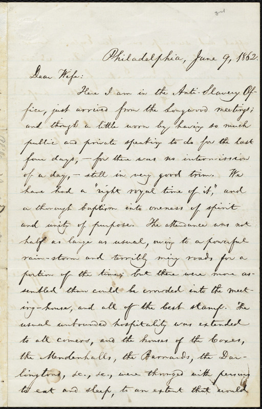 Letter from William Lloyd Garrison, Philadelphia, [Pa.], to Helen Eliza Garrison, June 9, 1862