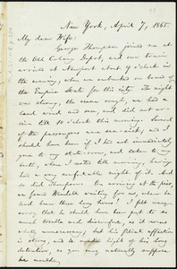 Letter from William Lloyd Garrison, New York, to Helen Eliza Garrison, April 7, 1865