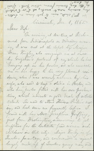 Letter from William Lloyd Garrison, Cincinnati, [Ohio], to Helen Eliza Garrison, Dec. 1, 1865