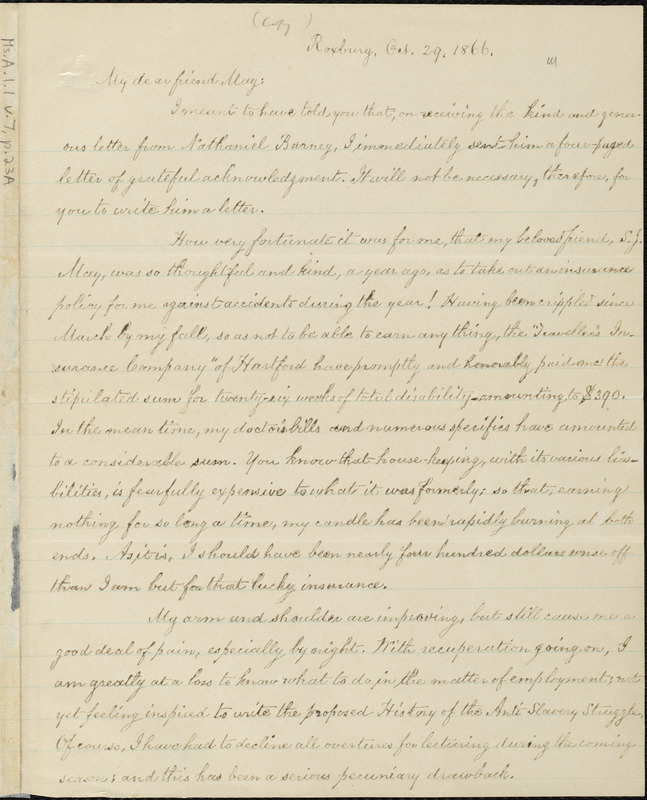 Copy of letter from William Lloyd Garrison, Roxbury, [Mass.], to Samuel May, Oct. 29, 1866