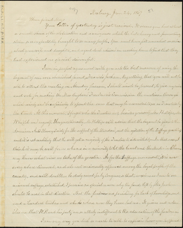 Copy of letter from William Lloyd Garrison, Roxbury, [Mass.], to Samuel May, Jan. 24, 1867