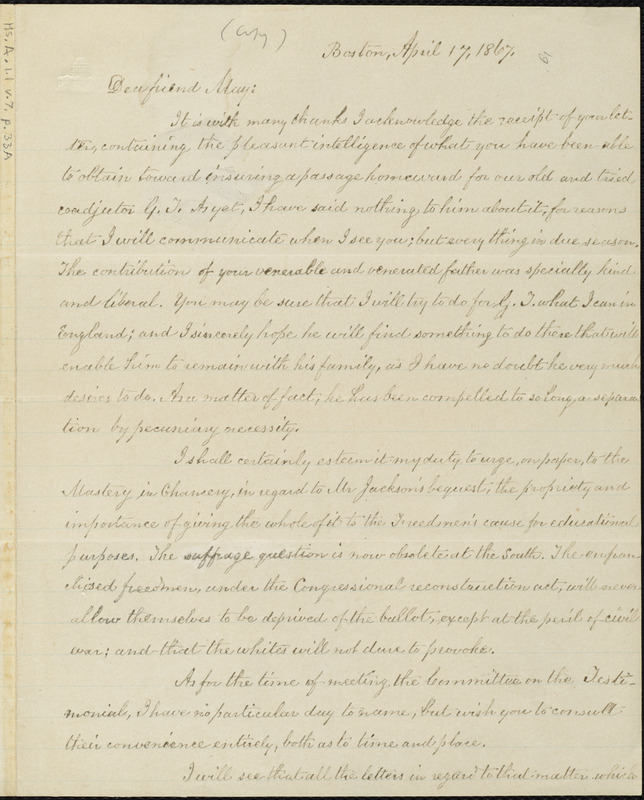 Copy of letter from William Lloyd Garrison, Boston, [Mass.], to Samuel May, April 17, 1867