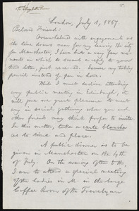 Letter from William Lloyd Garrison, London, [England], to Elizabeth Pease Nichol, July 1, 1867