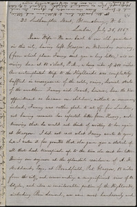 Letter from William Lloyd Garrison, 22 Southampton Street, Bloomsbury, W.C., London, [England], to Helen Eliza Garrison, July 26, 1867