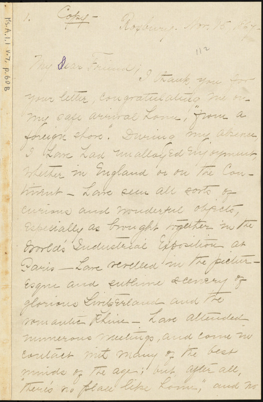 Copy of letter from William Lloyd Garrison, Roxbury, [Mass.], to George Whittemore Stacy, Nov. 15, 1867