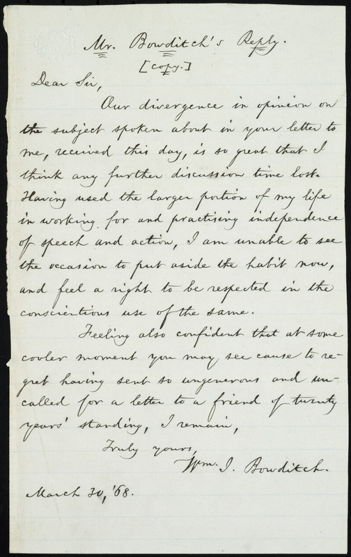 Copy of letter from William Ingersoll Bowditch, to William Lloyd Garrison, March 30, 1868