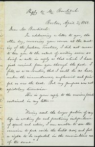 Letter from William Lloyd Garrison, Boston, [Mass.], to William Ingersoll Bowditch, April 2, 1868