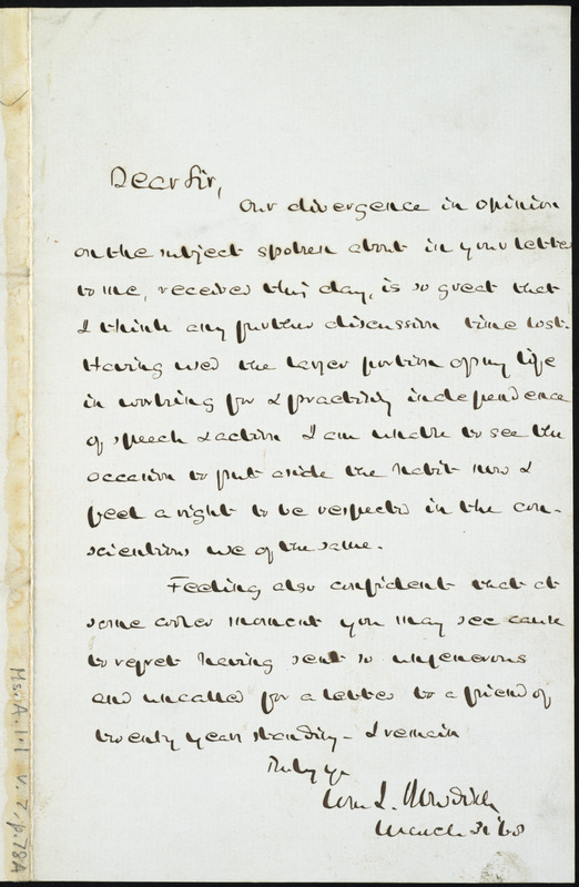 Copy of letter from William Ingersoll Bowditch, to William Lloyd Garrison, March 30, [18]68