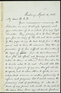 Letter from William Lloyd Garrison, Roxbury, [Mass.], to Henry Clarke Wright, April 11, 1868