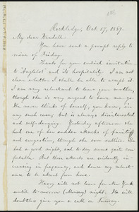 Letter from William Lloyd Garrison, Rockledge, [Roxbury, Mass.], to Wendell Phillips Garrison, Oct. 17, 1869