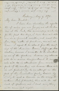 Letter from William Lloyd Garrison, Roxbury, [Mass.], to Wendell Phillips Garrison, May 9, 1870