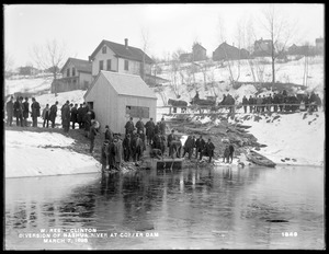 Wachusett Aqueduct, Opening gates of Wachusett Aqueduct at cofferdam, from the southwest; Chief Engineer Frederic P. Stearns with many engineers, Clinton, Mass., Mar. 7, 1898