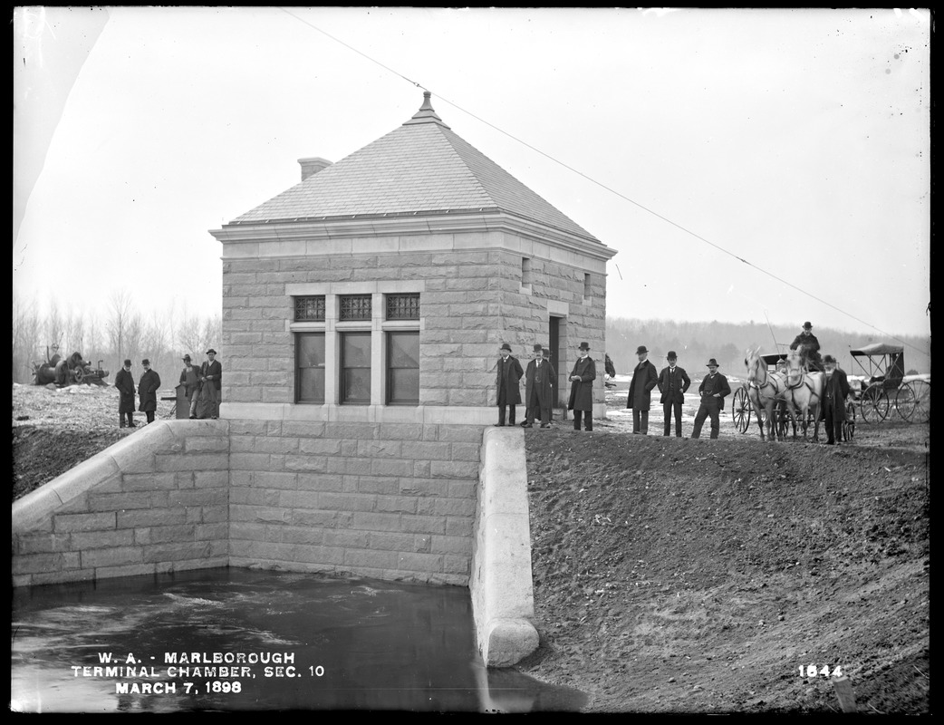Wachusett Aqueduct, Terminal Chamber, Section 10, from the east; Chief Engineer Frederic P. Stearns with many engineers, Marlborough, Mass., Mar. 7, 1898