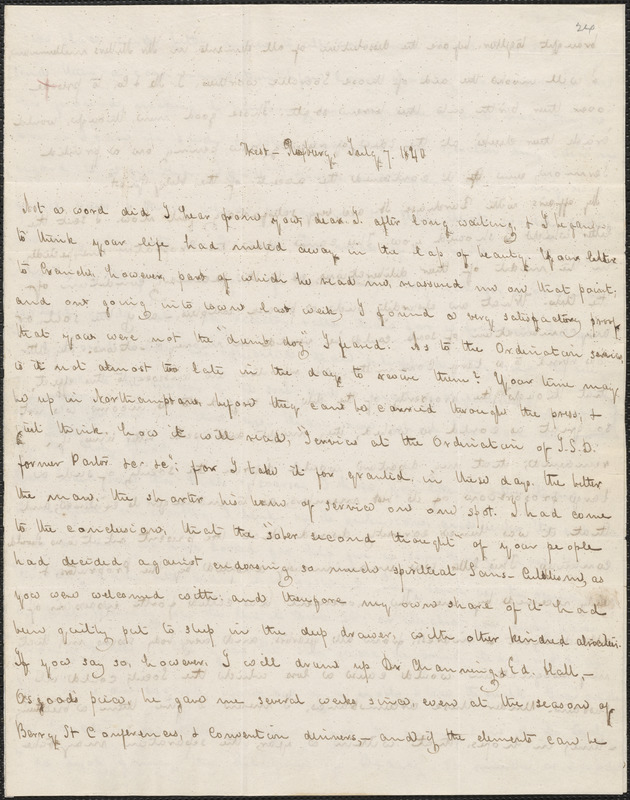 George Ripley autograph letter signed to John Sullivan Dwight, West Roxbury, July 7, 1840