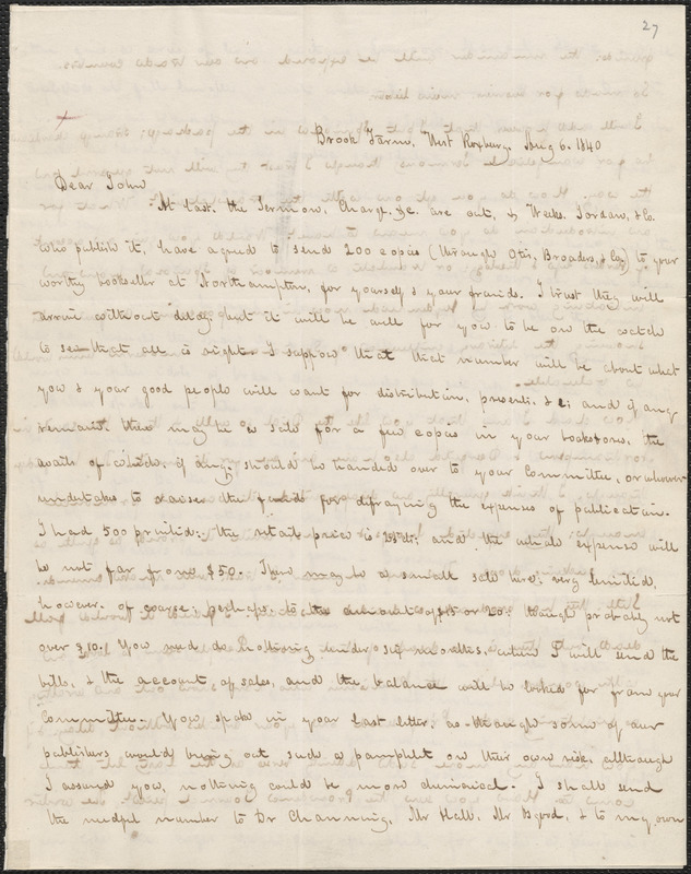 George Ripley autograph letter signed to John Sullivan Dwight, Brook Farm, August 6, 1840